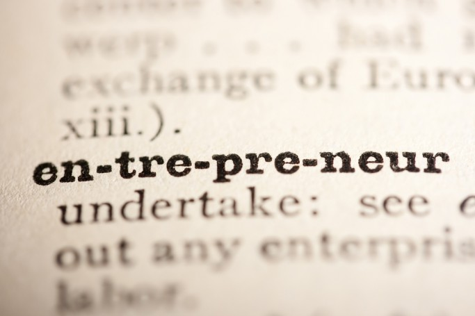 Tilt-shift photo of the word entreprenuer